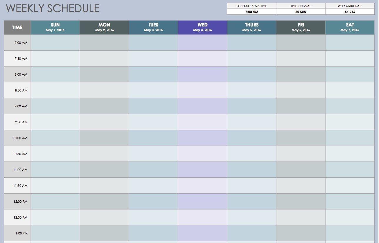Weekly Schedule Sun Thru Sat 30 Min Intervals | Weekly