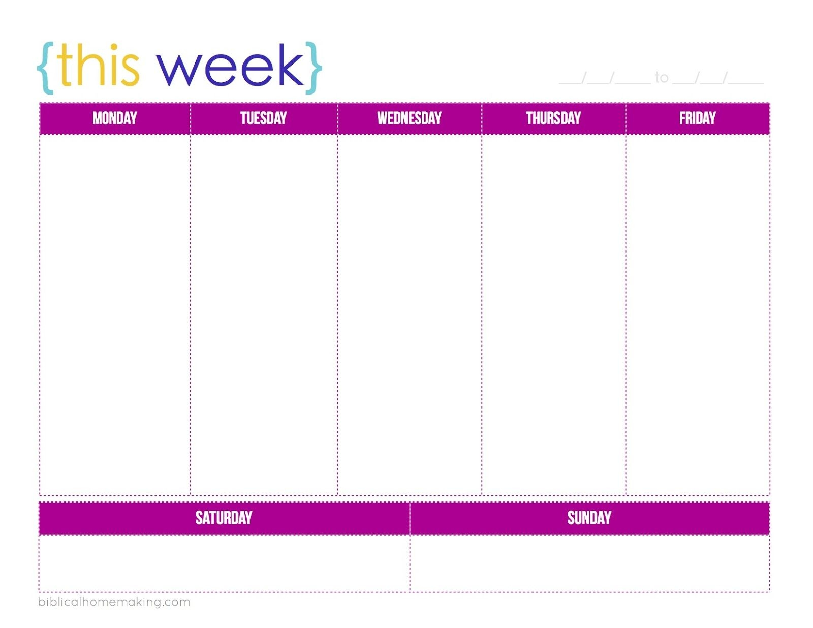 Weekweek Calendar Template