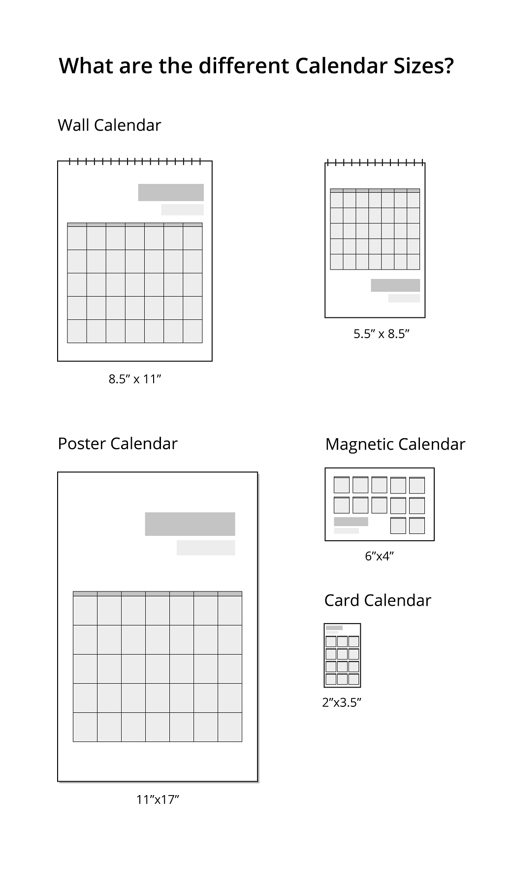 what are the different calendar sizes? | uprinting