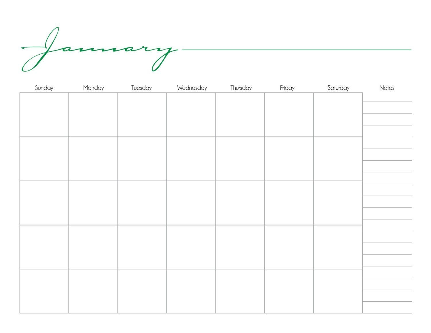Whimsical Printable Monthly Calendar No Date /