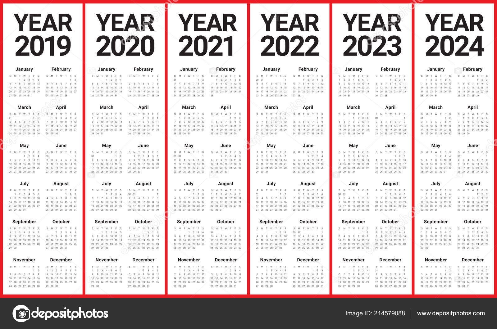 Year 2019 2020 2021 2022 2023 2024 Calendar Vector Design Template, Simple And Clean Design 214579088