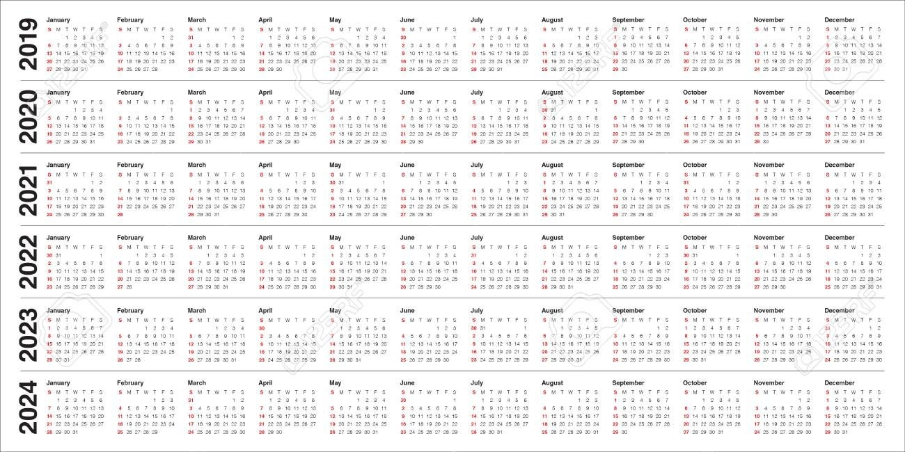 Year 2019 2020 2021 2022 2023 2024 Calendar Vector Design Template,