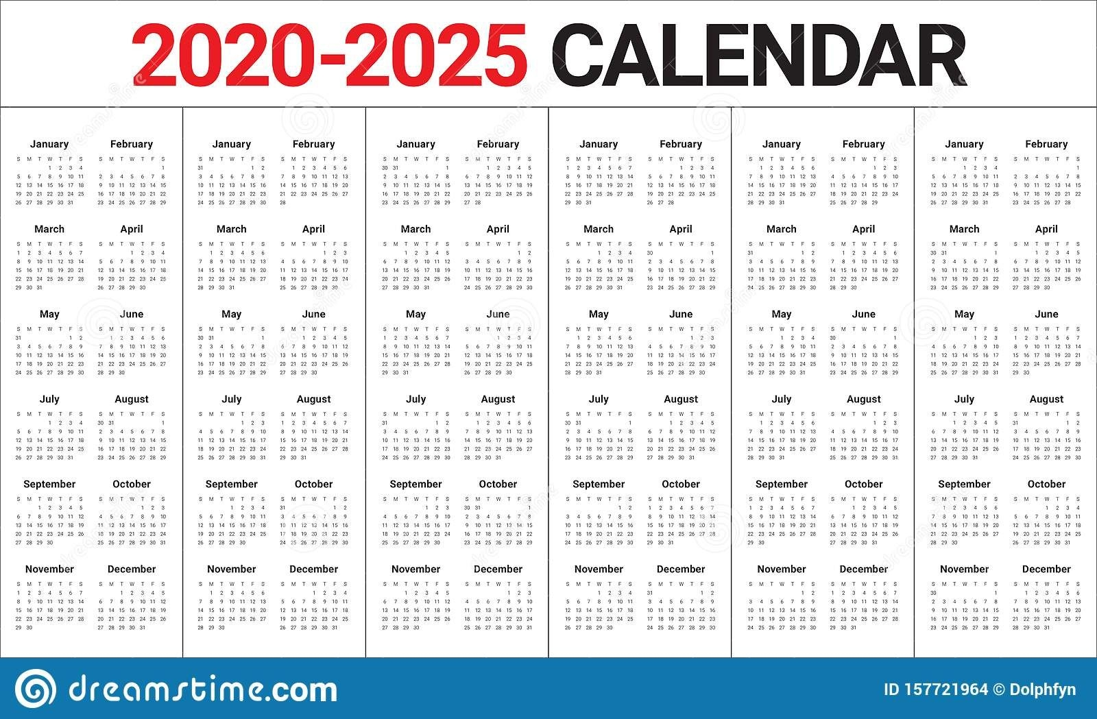 Year 2020 2021 2022 2023 2024 2025 Calendar Vector Design