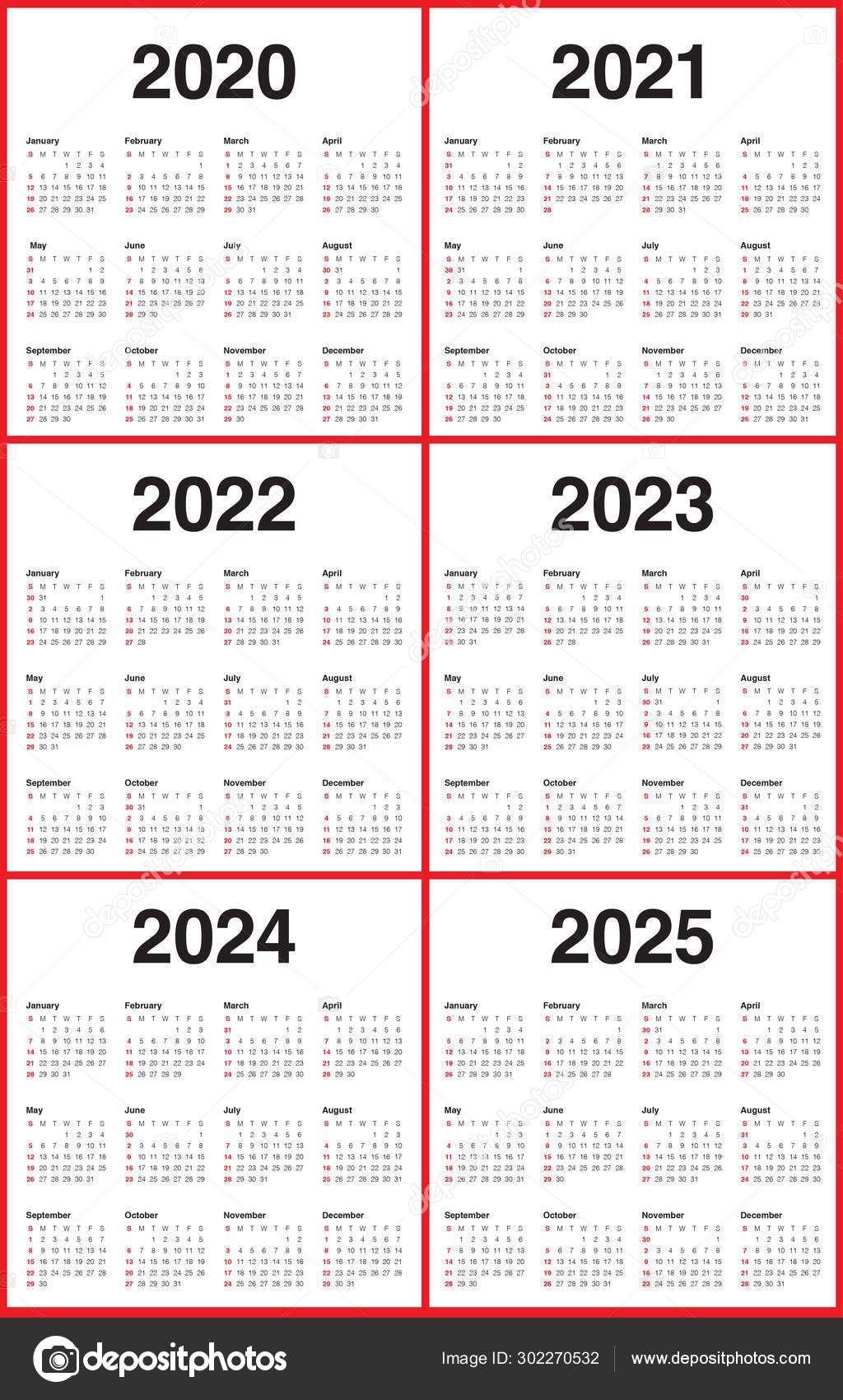 year 2020 2021 2022 2023 2024 2025 calendar vector design templa 302270532