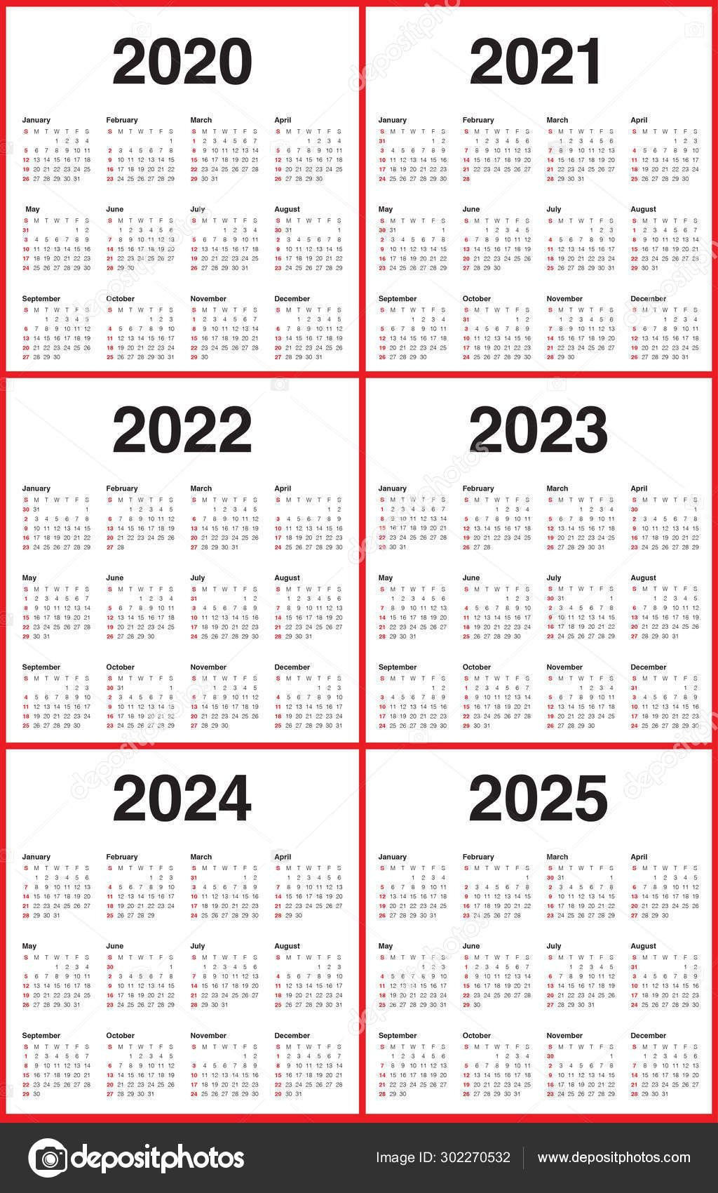 Year 2020 2021 2022 2023 2024 2025 Calendar Vector Design Templa 302270532