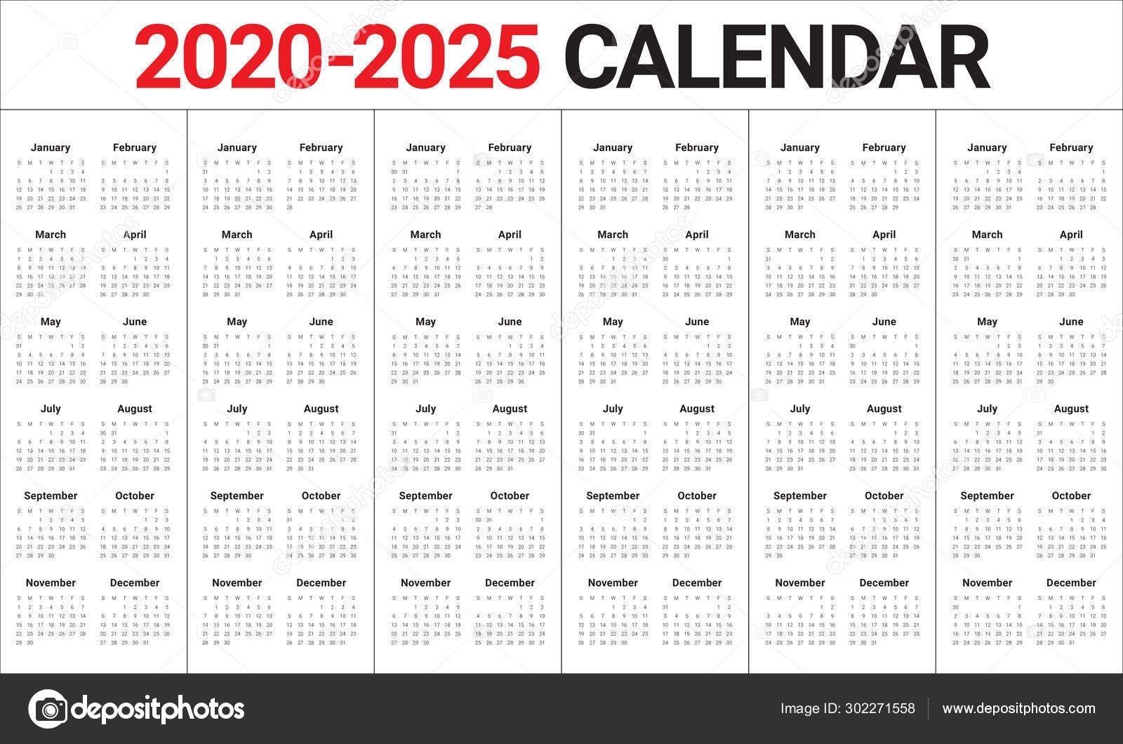 Year 2020 2021 2022 2023 2024 2025 Calendar Vector Design Templa 302271558