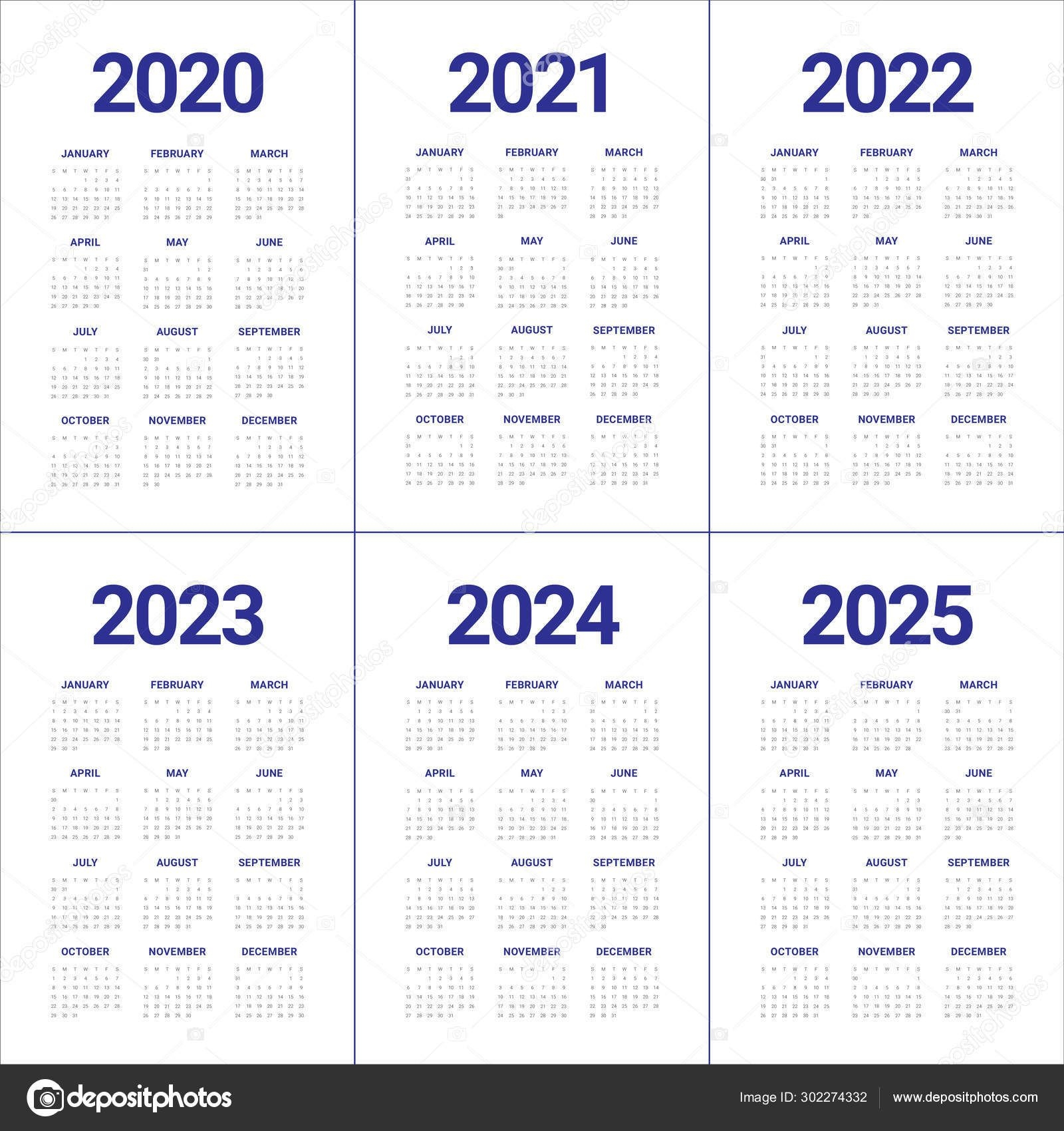 Year 2020 2021 2022 2023 2024 2025 Calendar Vector Design Templa 302274332