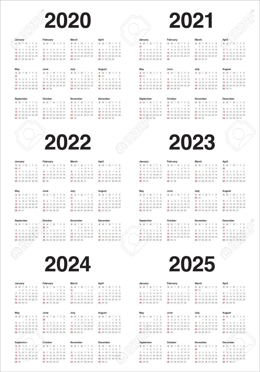 Year 2020 2021 2022 2023 2024 2025 Calendar Vector Design Template,