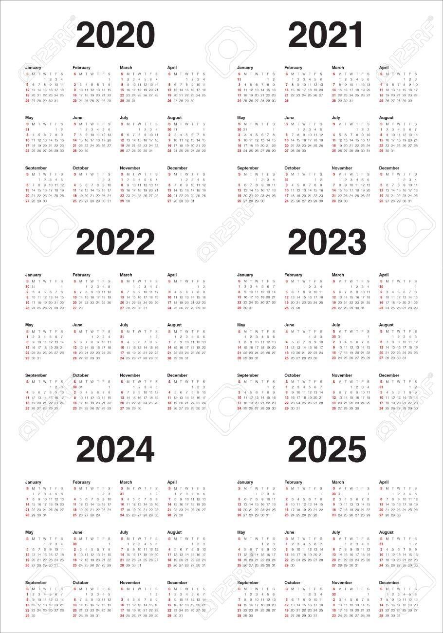 Year 2020 2021 2022 2023 2024 2025 Calendar Vector Design Template,