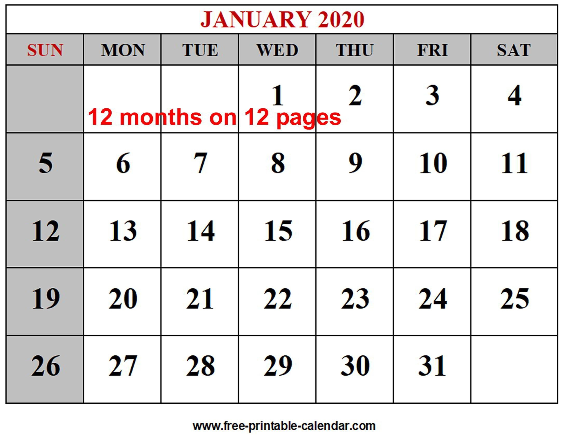 Year 2020 Calendar Templates Free Printable Calendar