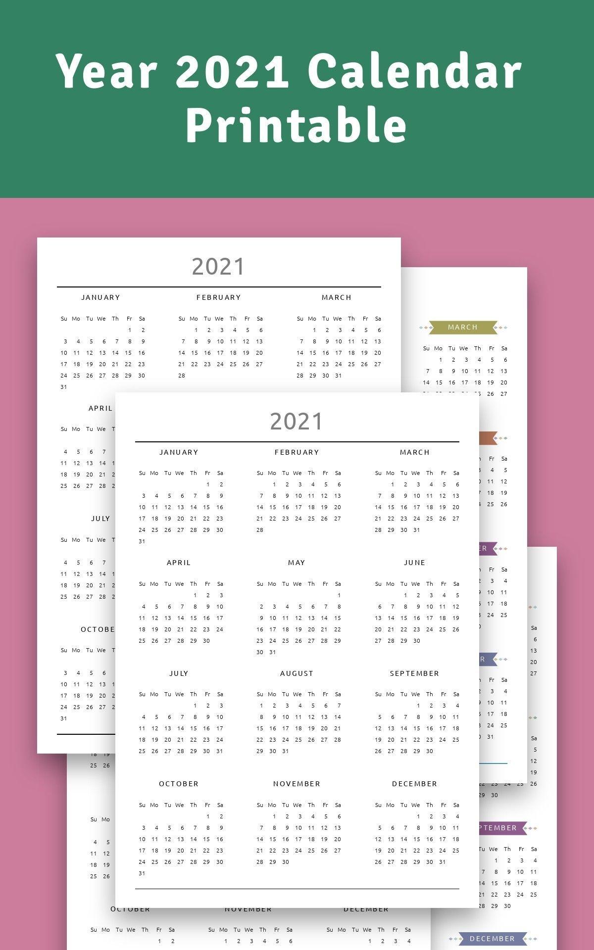 Year 2021 Calendar Printable Download Template In 2020