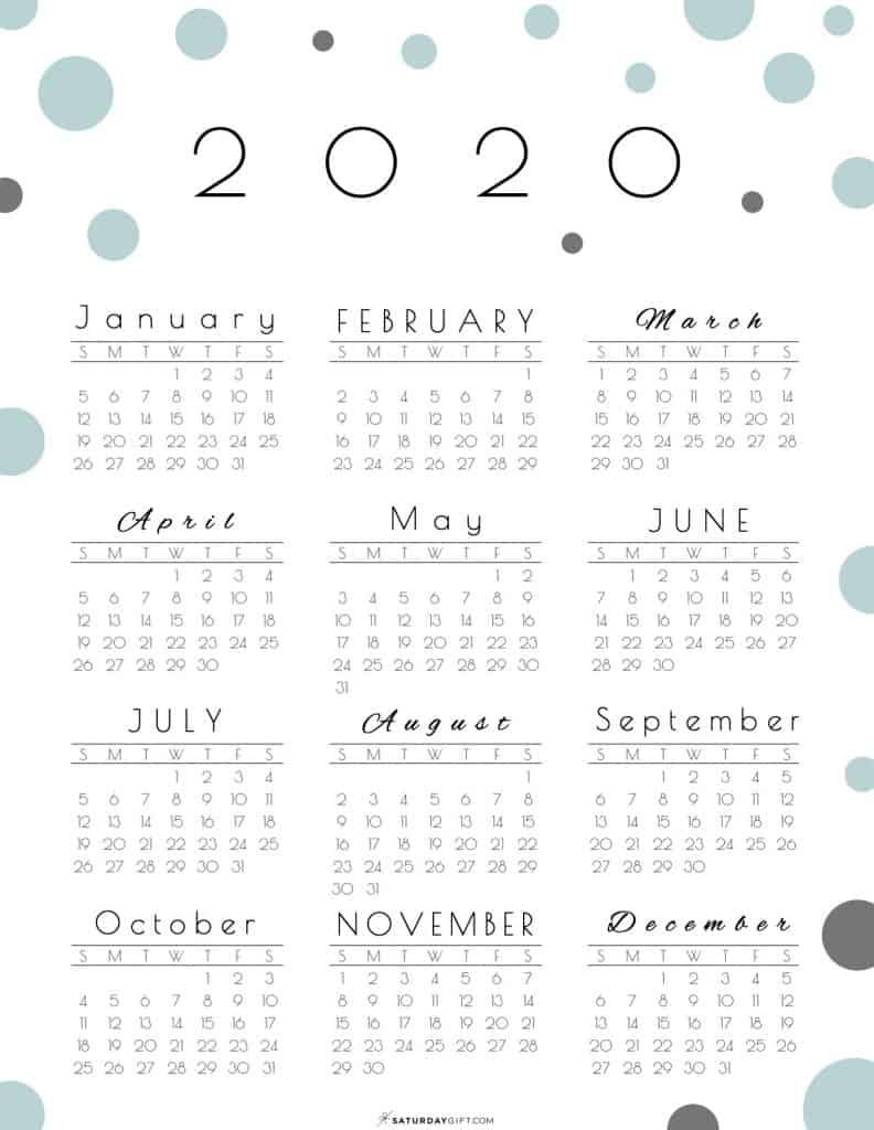 year at a glance calendar 2020 pretty (and free!) printable