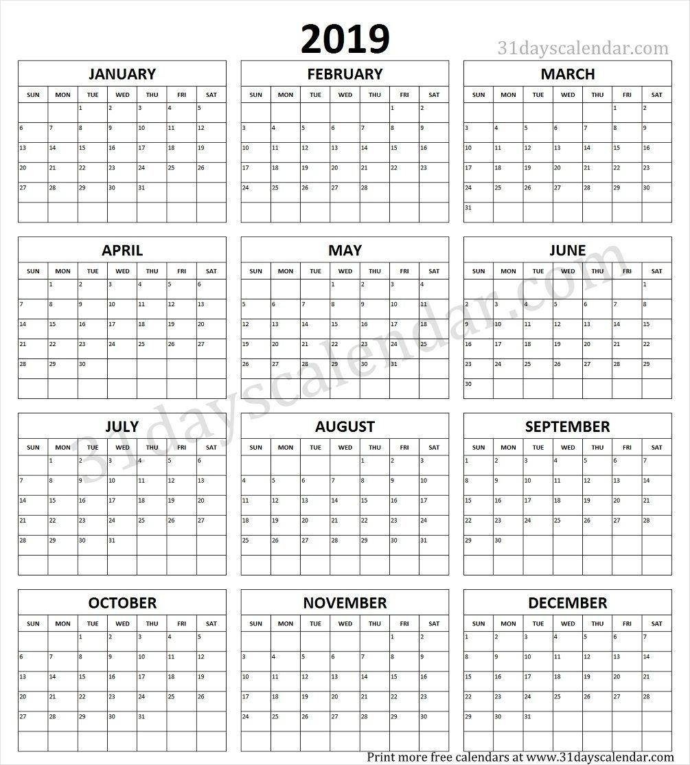 Year Calendar 2019 Printable One Page | Print Calendar