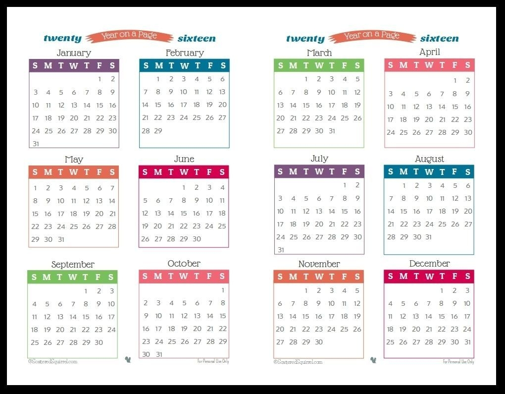 year long calendar on one page in 2020 | calendar printables