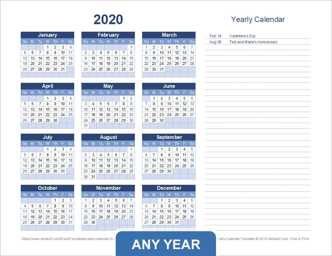 yearly calendar template for 2020 and beyond