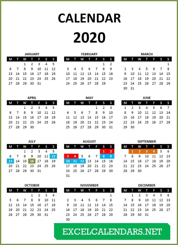 Yearly Calendar Templates For Year 2019 | 2020 | 2021 | 2022