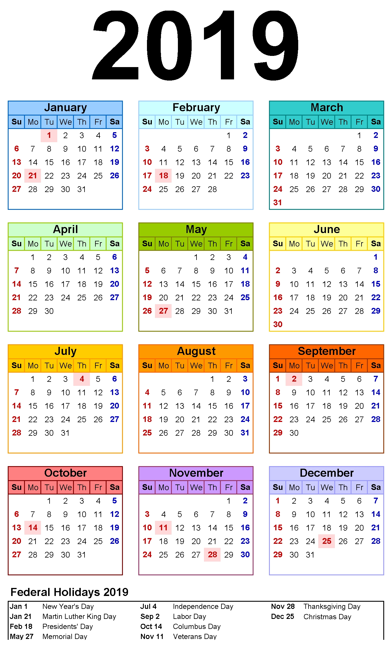 12 month calendar in one page | 12 month calendar printable