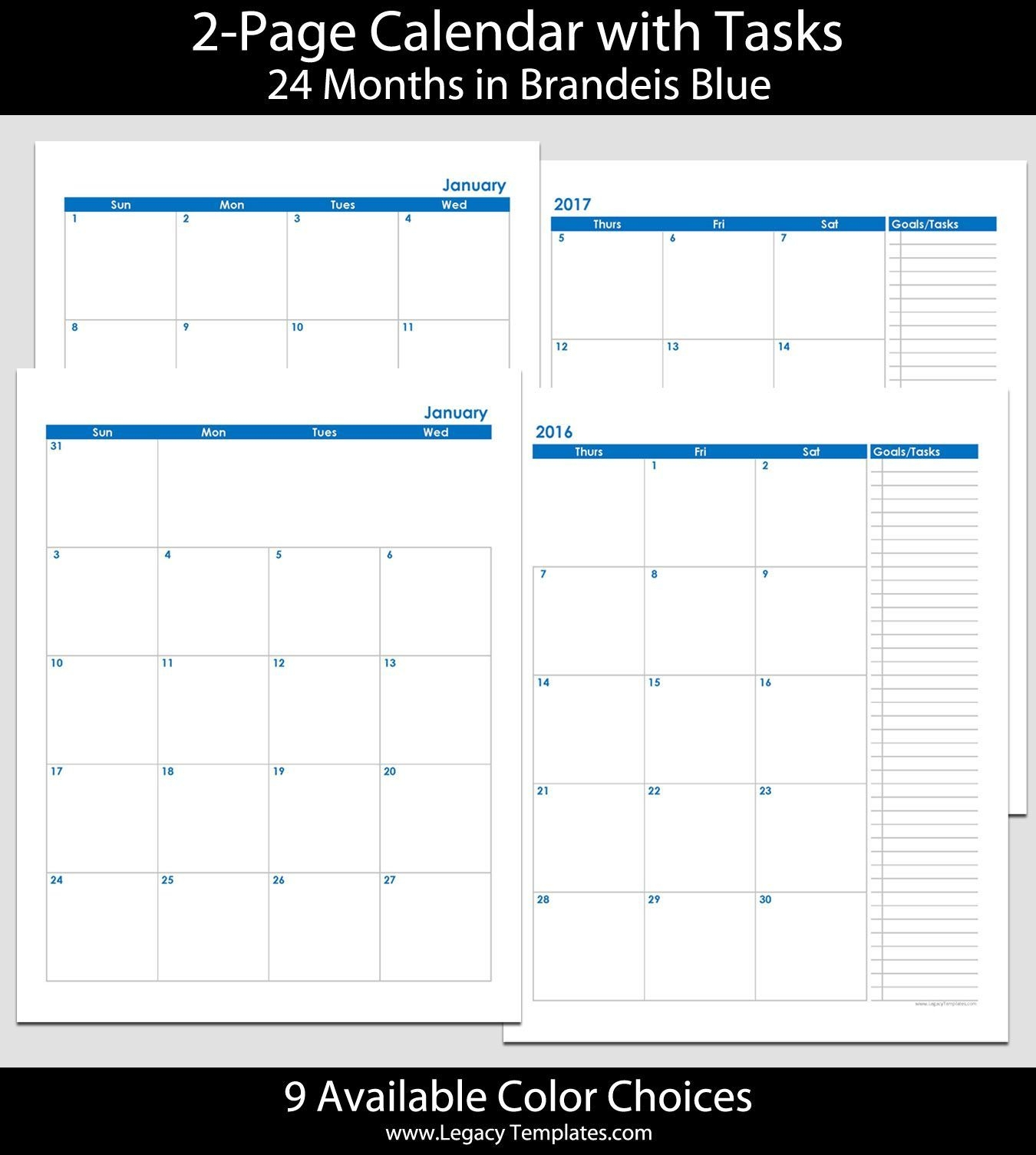 2016 & 2017 24 Month 2 Page Calendar – 8 1/2″ X 11