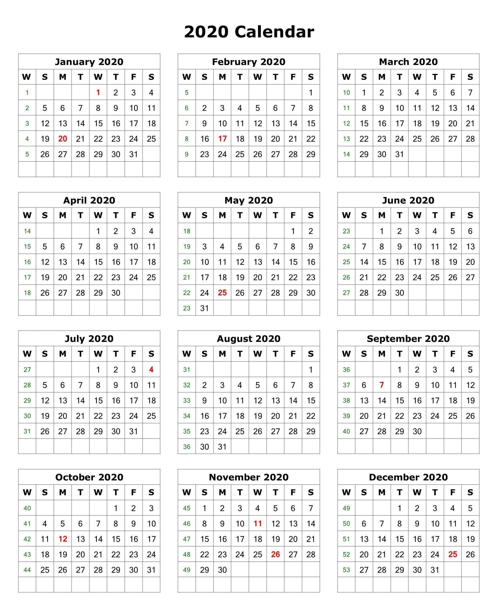 2020 one page calendar printable | calendar 2020 | printable