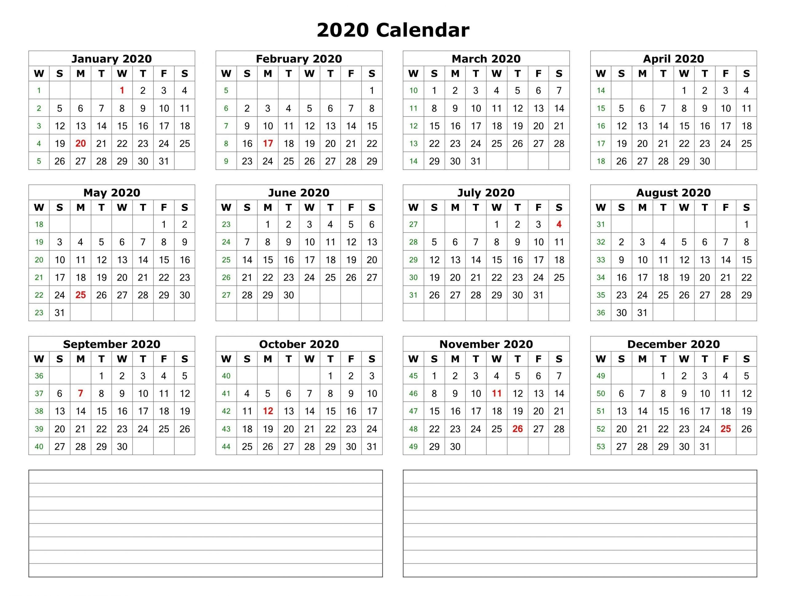 2020 One Page Calendar With Notes | Yearly Calendar Template