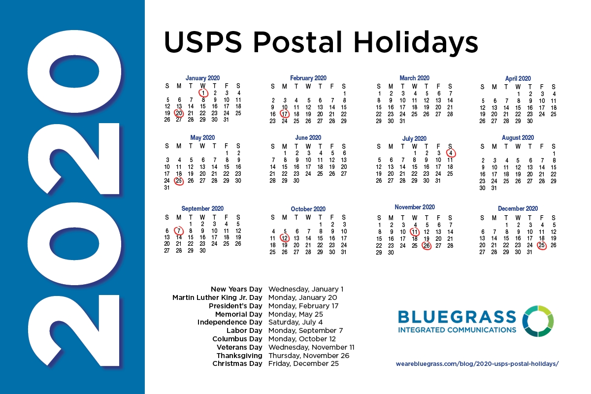 2020 usps postal holidays when the mail does not go through