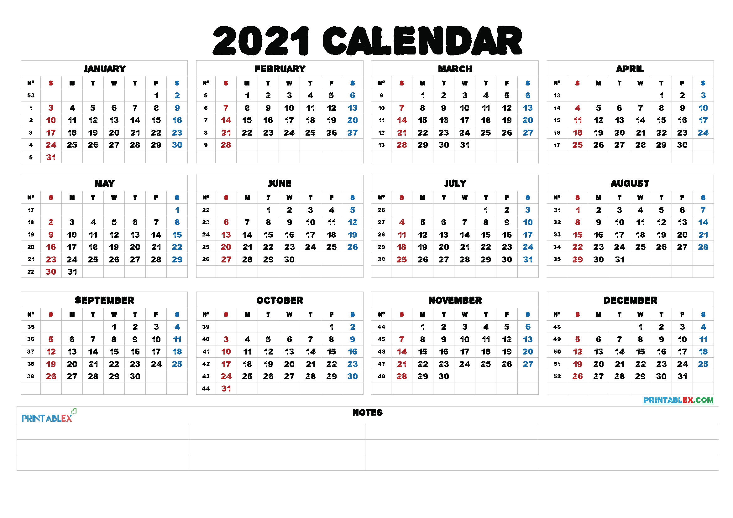 2021 Printable Yearly Calendar With Week Numbers 21ytw52