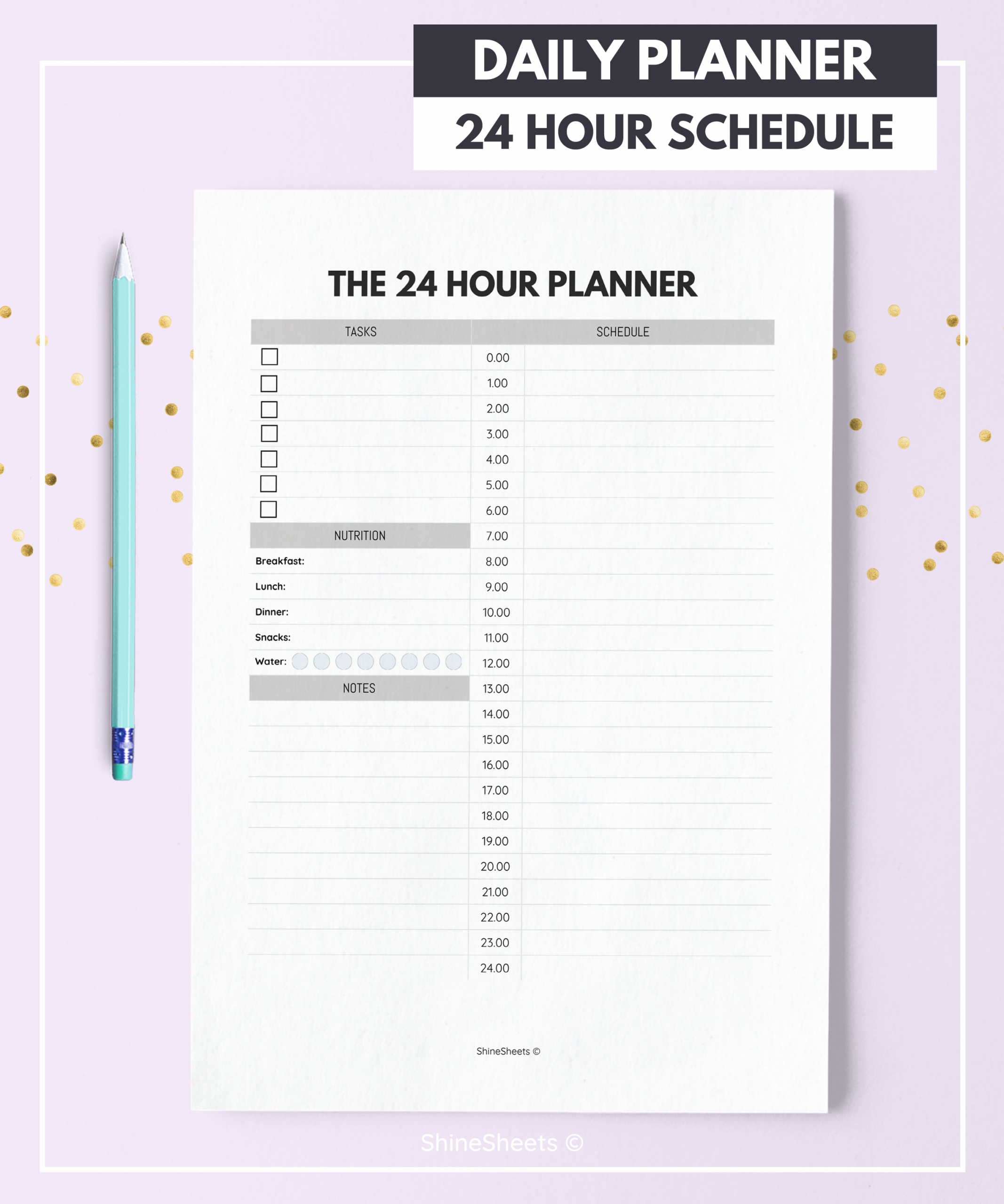 24 Hour Planner / Daily Planner Printable / 24h Daily | Etsy