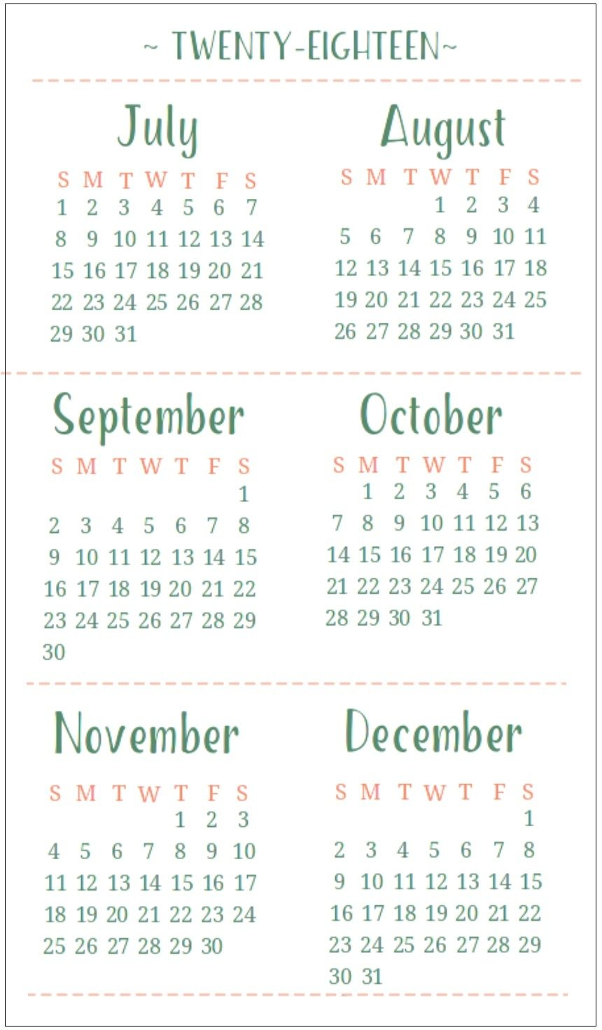 6 Month One Page Calendar 2018 | Latest Calendar
