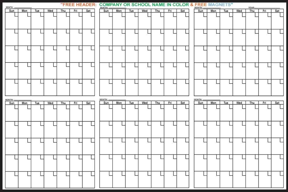 6 monthly calendar – printable year calendar