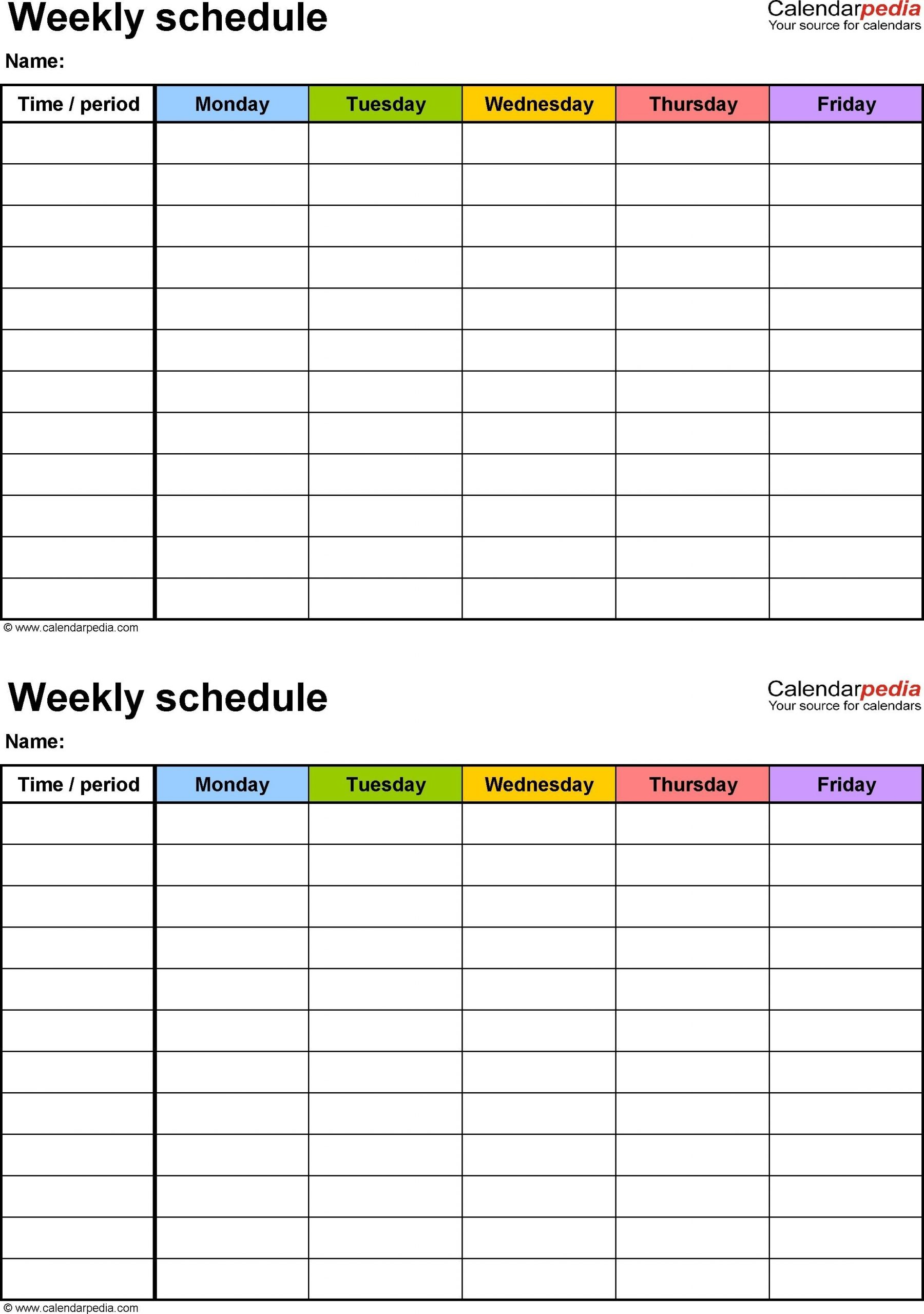 6 Week Calendar Template Word | Daily Schedule Template