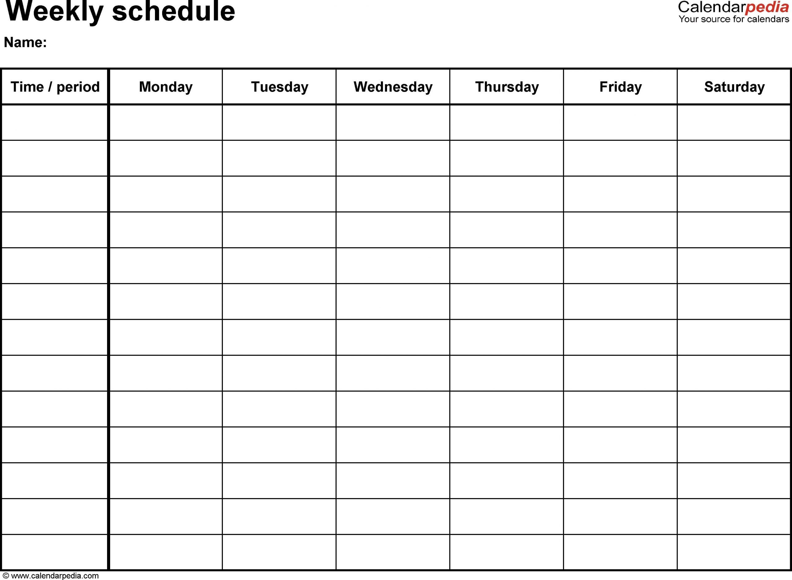 6 Week Calendar Template Word | Weekly Calendar Template