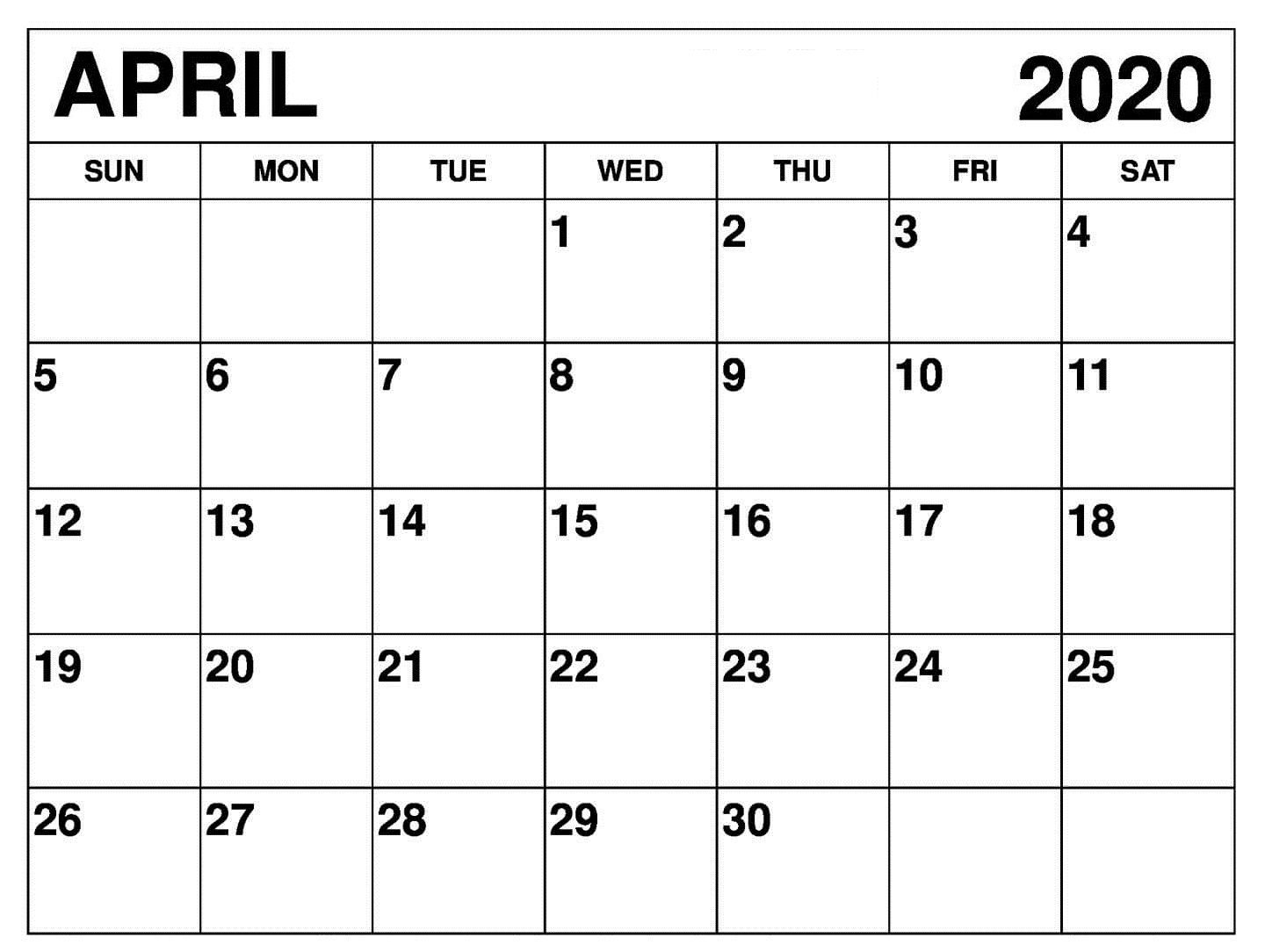 April 2020 Calendar Wallpaper For Wall | Free Printable