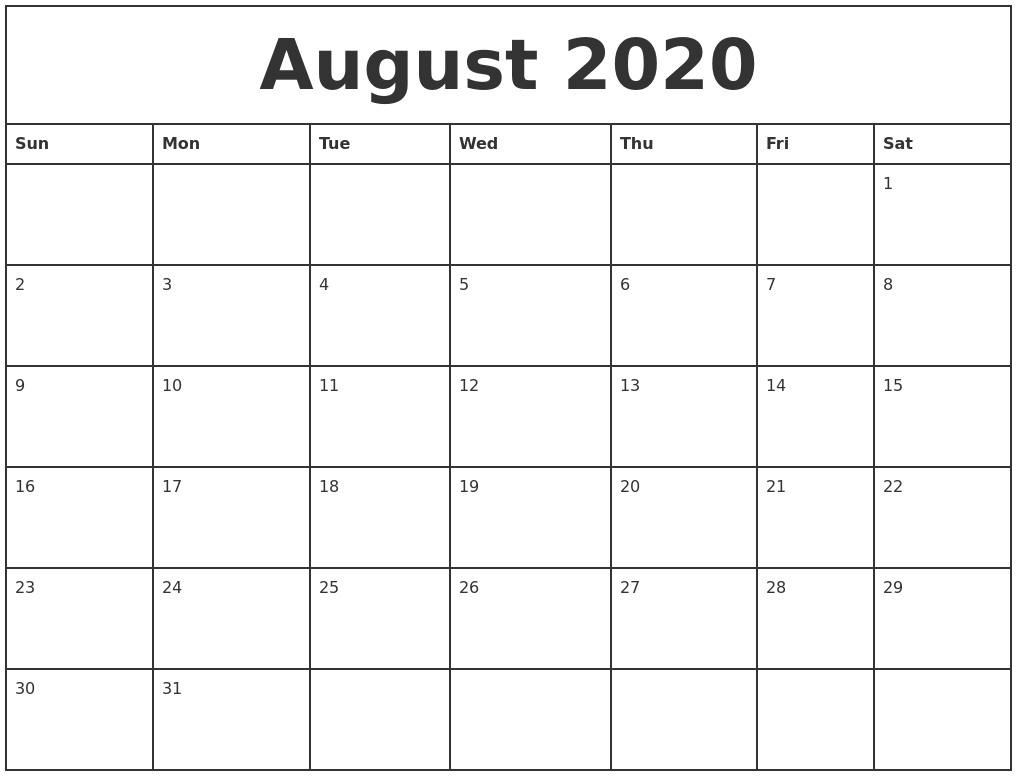 august 2020 printable monthly calendar