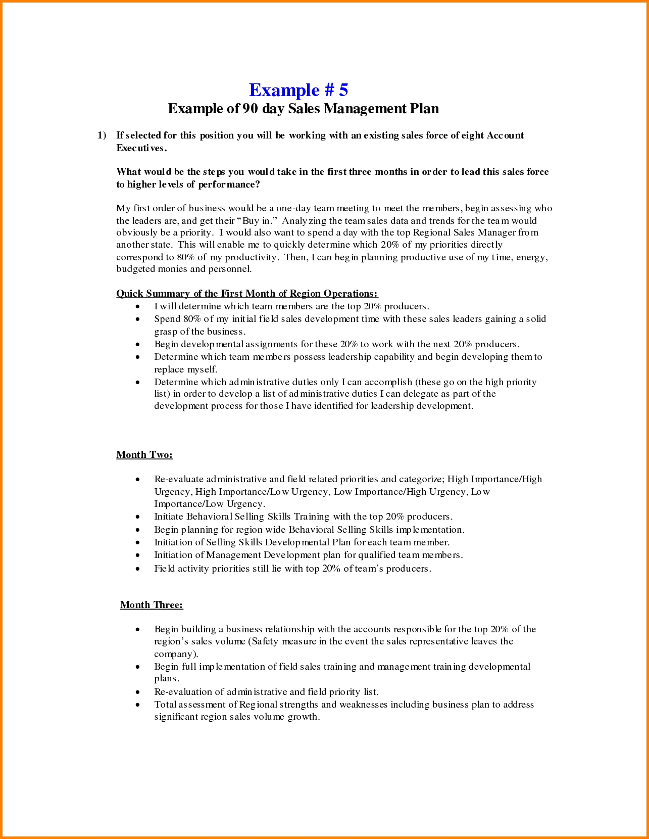 Business Plan Day Template 30 60 90 Examples Word