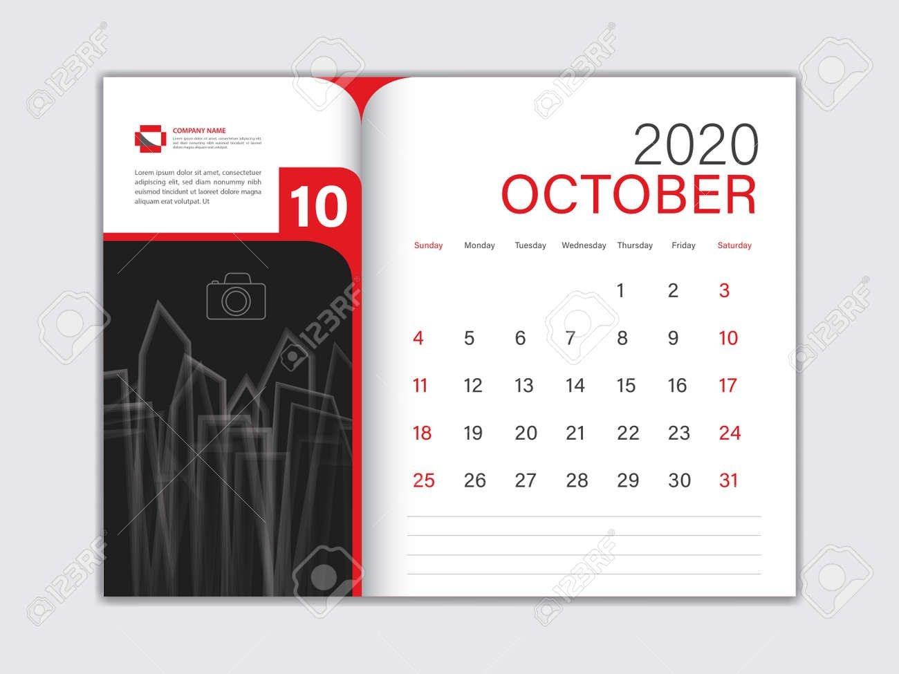 Calendar 2020 Design Vector, Desk Calendar 2020 Template, October,