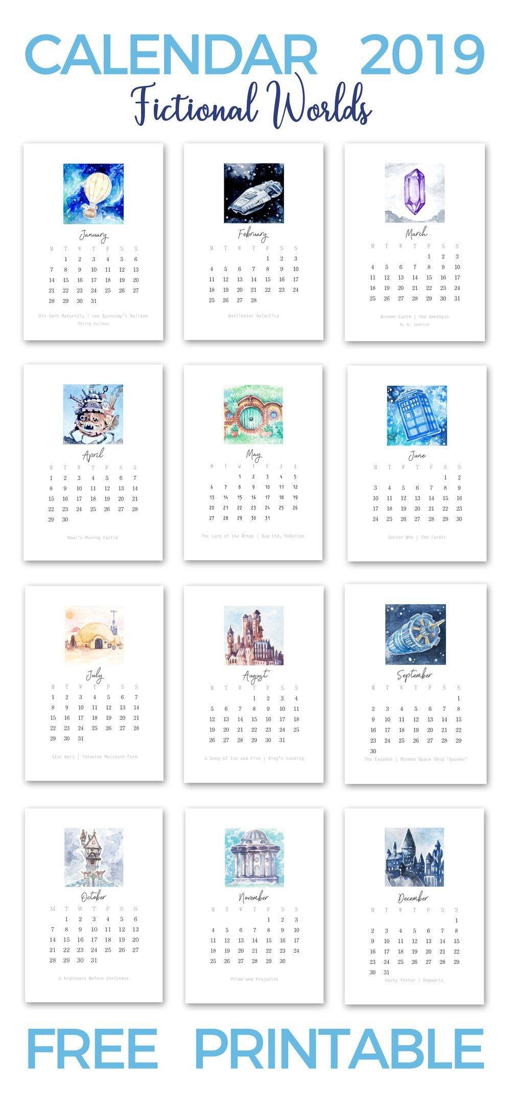 Calendar Free Printable 2019 | Desk Calendar Free