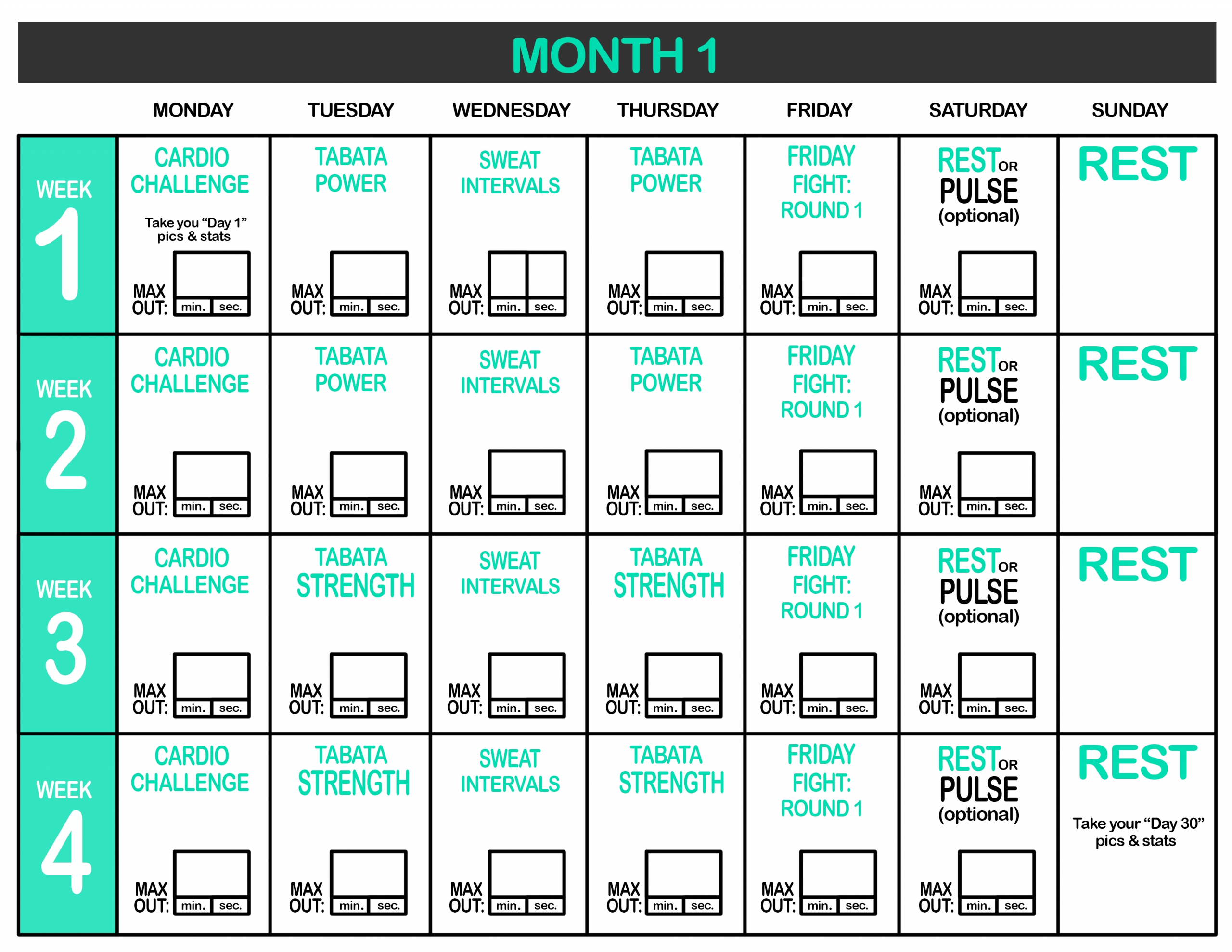 Calendar Month 1 Printable : Insanitymax30