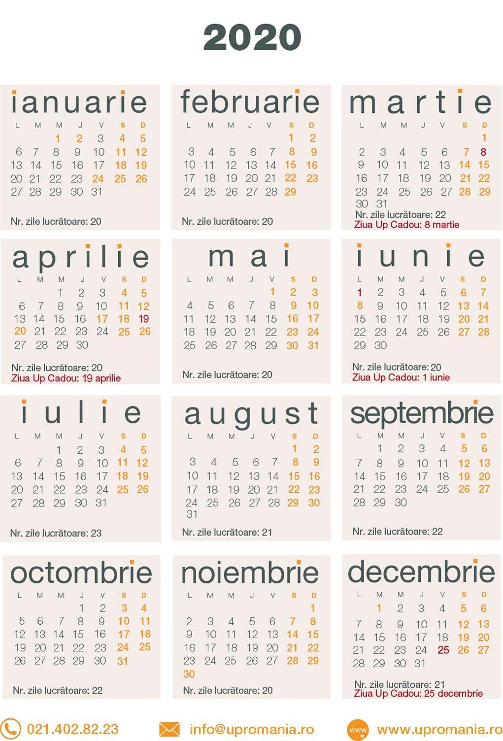 Calendar Zile Lucratoare 2021 | Up Romania