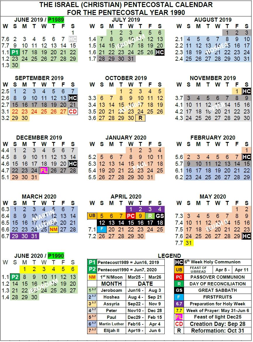 Christian Calendar Oom Ben