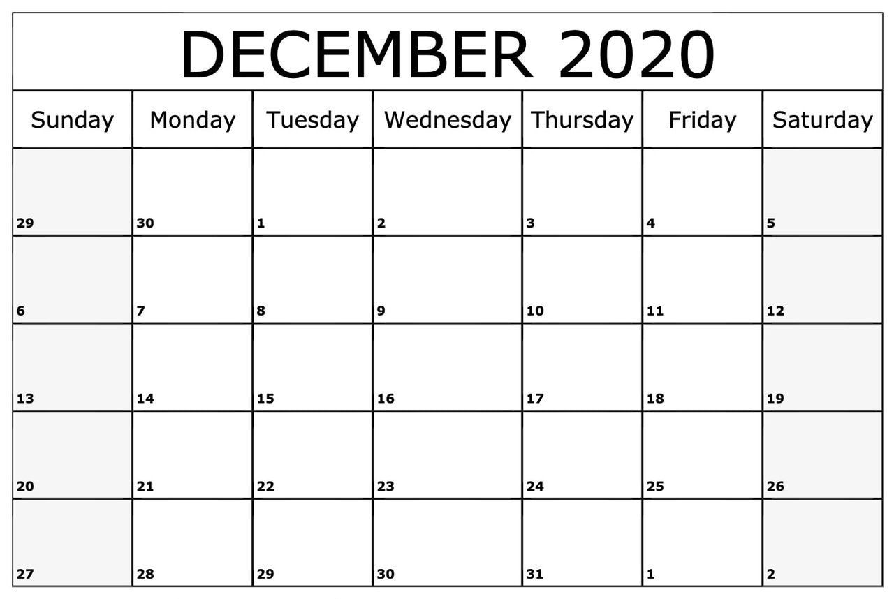 December Calendar 2020 | Editable Calendar, Monthly Calendar