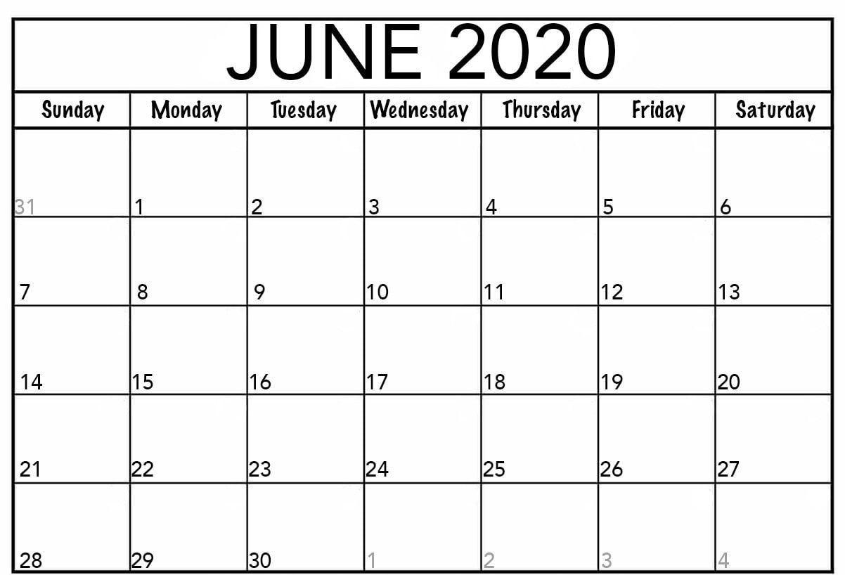 editable calendar june 2020 | june calendar printable