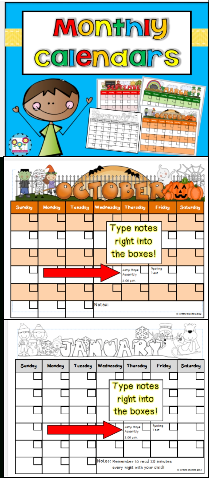 editable monthly calendars so cute! you can type your