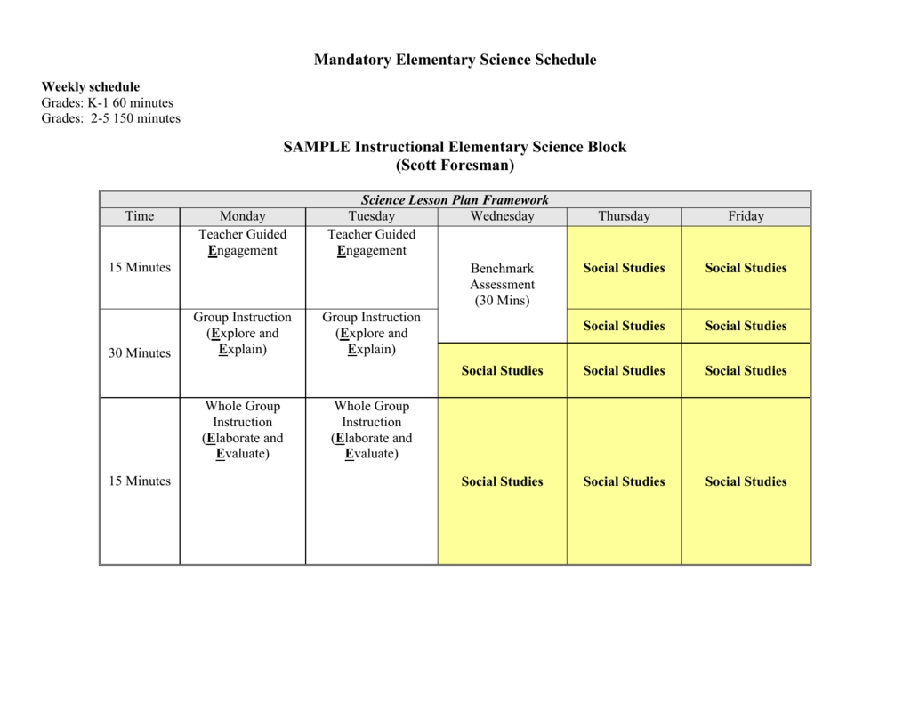 Elementary Science Schedule & 5 E's Lesson Template