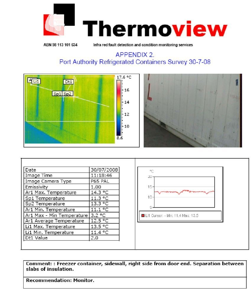 Example Of A Page Of The Report Containing The Thermographic