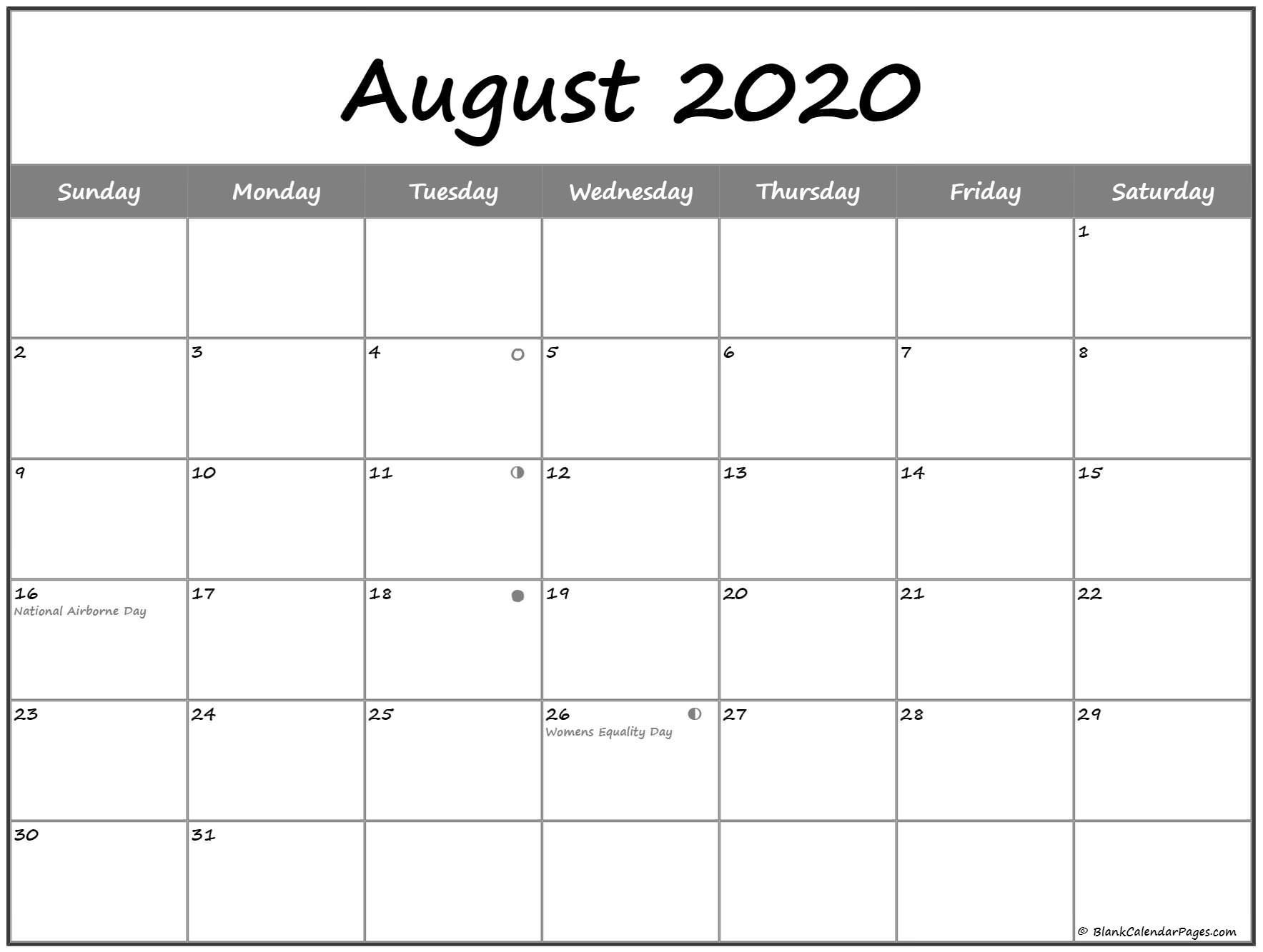 Extraordinary 2020 Calendar With Lunar Dates | Moon Phase