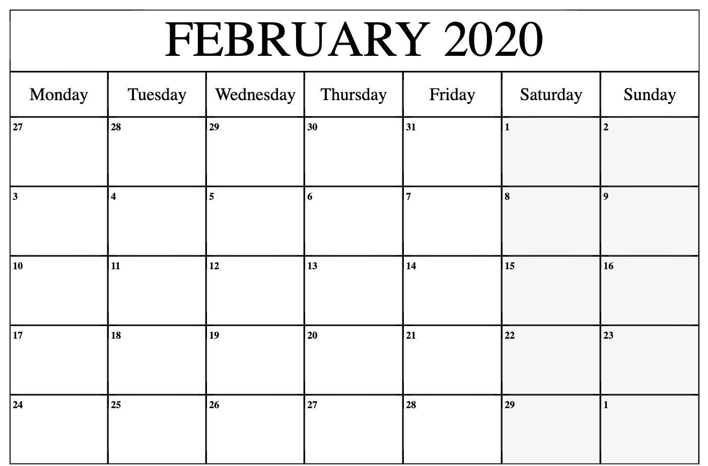 February 2020 Calendar Printable | December Calendar