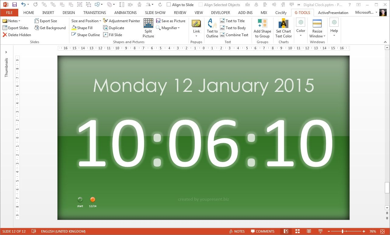 Free Powerpoint Digital Clock, Alarm & Countdown | Youpresent