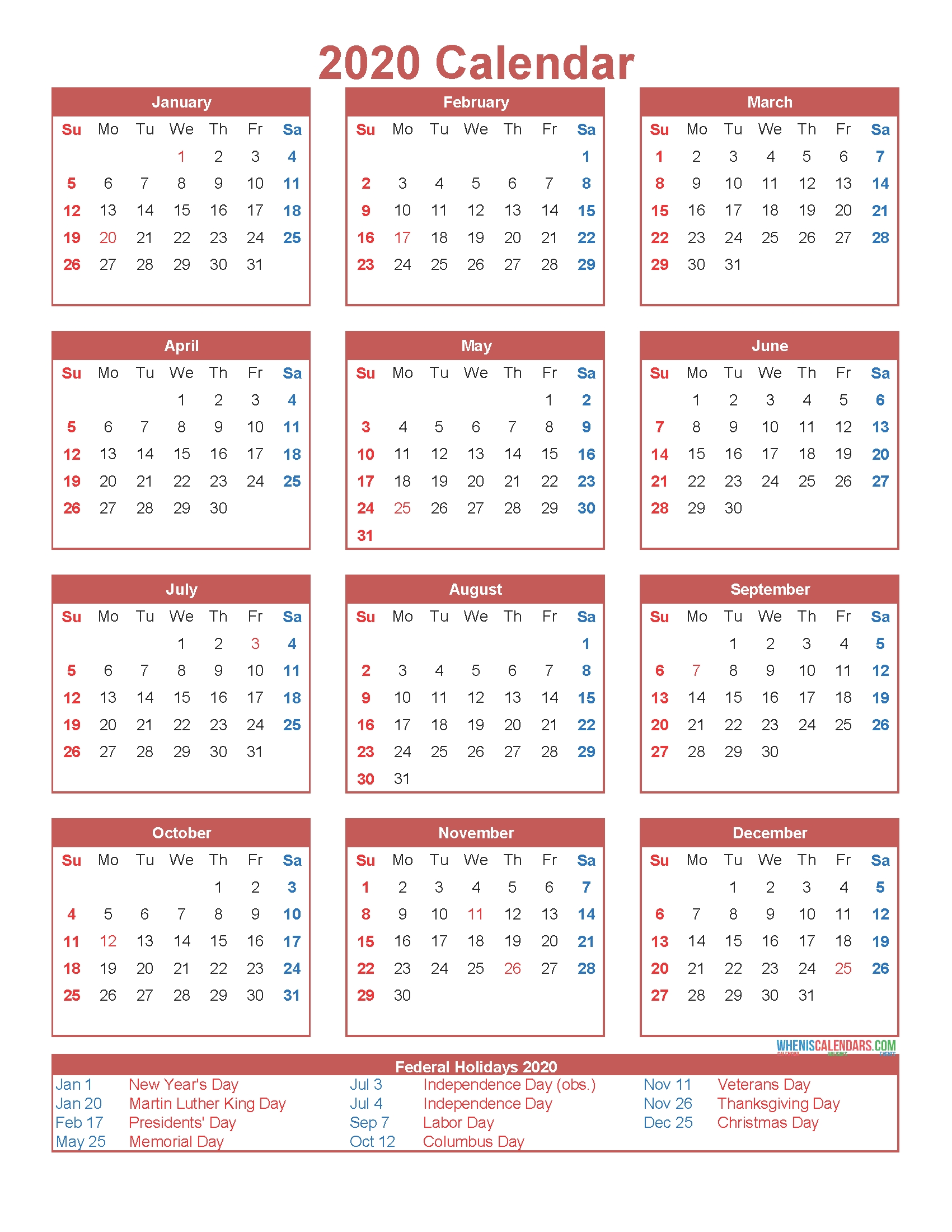Free Printable 12 Month Calendar On One Page 2020