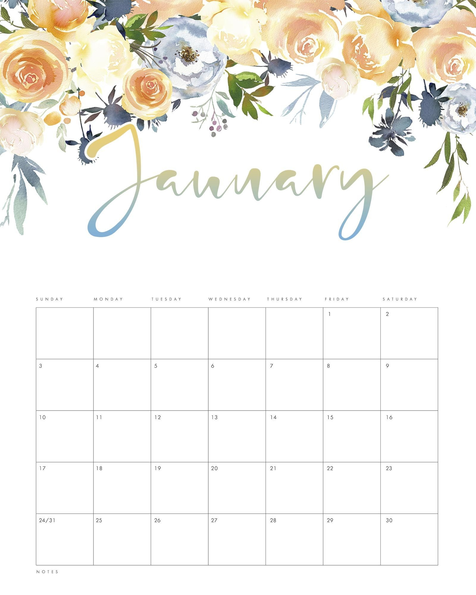 Free Printable 2021 Floral Drop Calendar The Cottage Market