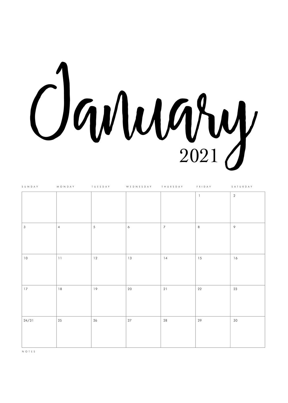Free Printable 2021 Minimalist Calendar The Cottage Market